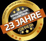 comexpo werbetechnik 23 jahre badge